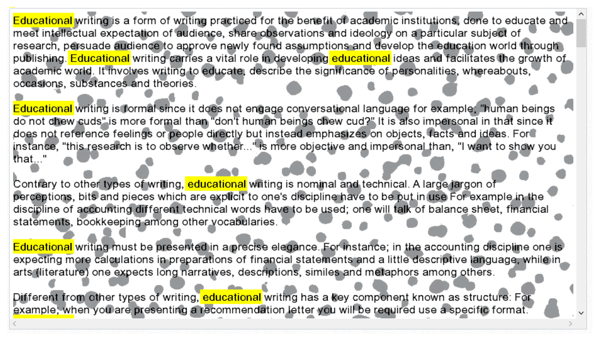 iWriter article content is obscured
